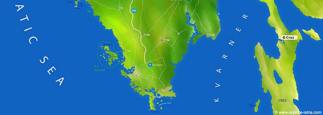 Map of Istrian peninsula